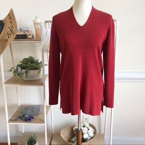 Eileen Fisher red knit v neck tunic sweater